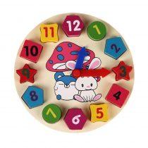Puidust numbriklotsidega kell numbreid õpetav mänguasi 1