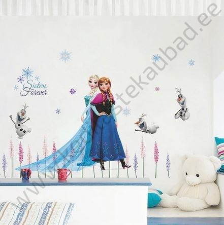 "Seinakleebis ""Elsa ja Anna lilledega"""