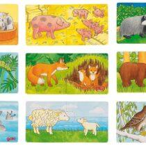 """Goki puidust pusle """"Kes kuuluvad kokku – loomad ja loomabeebid"""""""