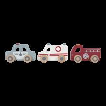 Little Dutch puidust kiirabi-, politsei- ja tuletõrjeauto komplekt