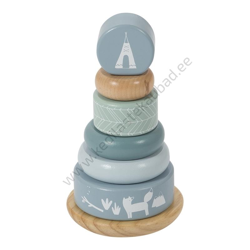 4401 – Little Dutch puidust püramiid Adventure Blue mänguasi-