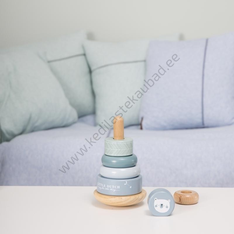 4401 – Little Dutch puidust püramiid Adventure Blue mänguasi-5