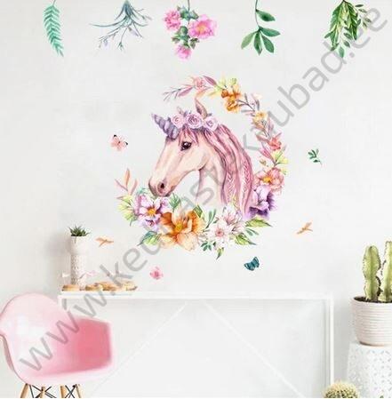 "Seinakleebis ""Ükssarvik lilledega"""