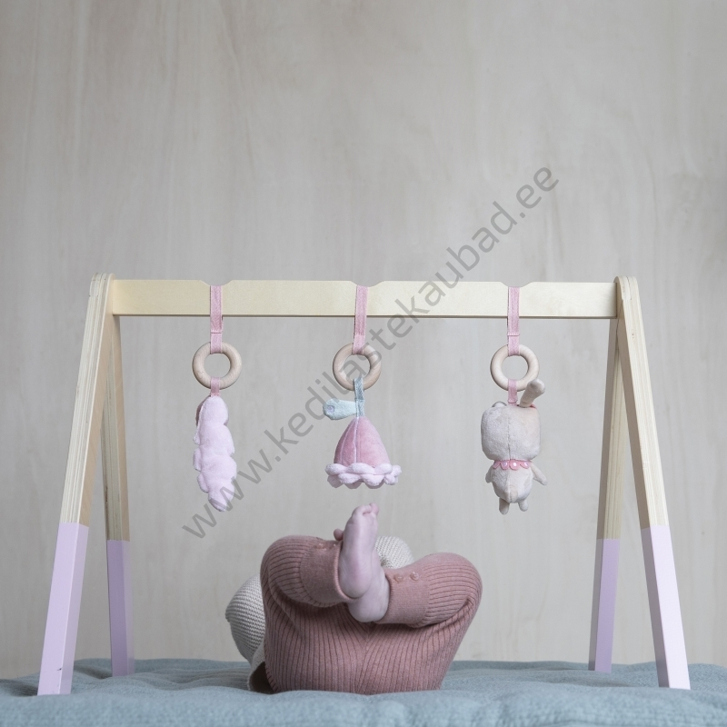 4439 Little Dutch puidust mängukaar rippuvate leludega Pink-2