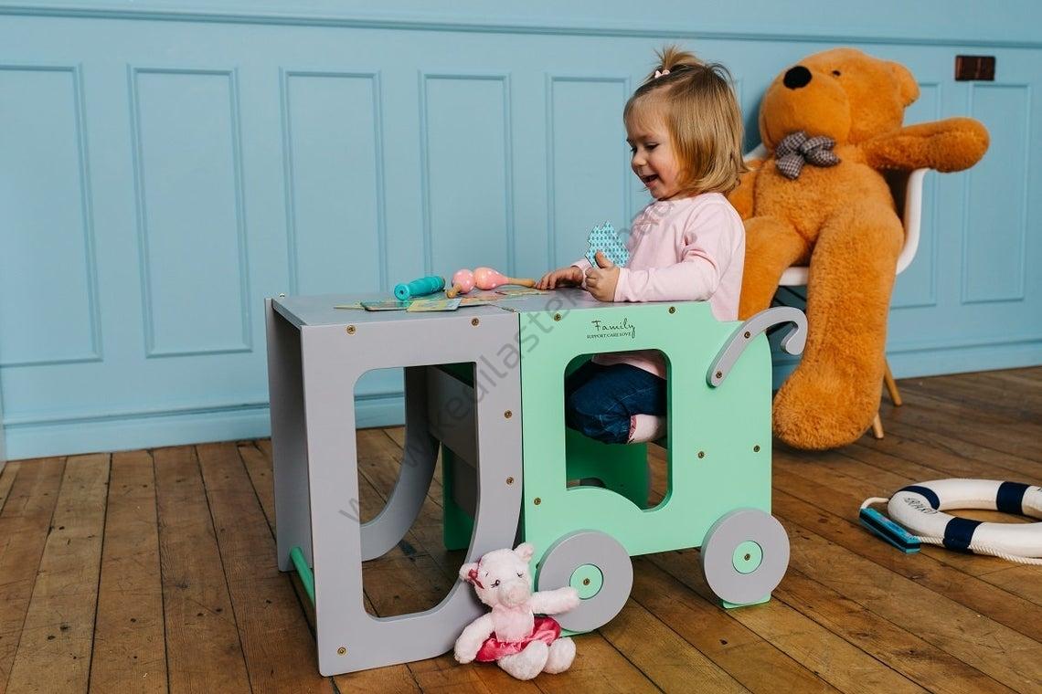 Laste köögitorn-laud ja tool Käru-10
