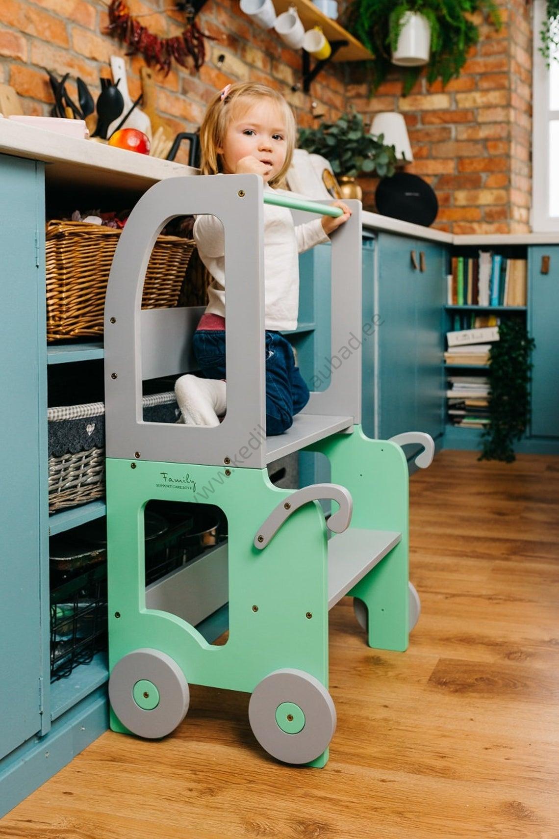 Laste köögitorn-laud ja tool Käru-6