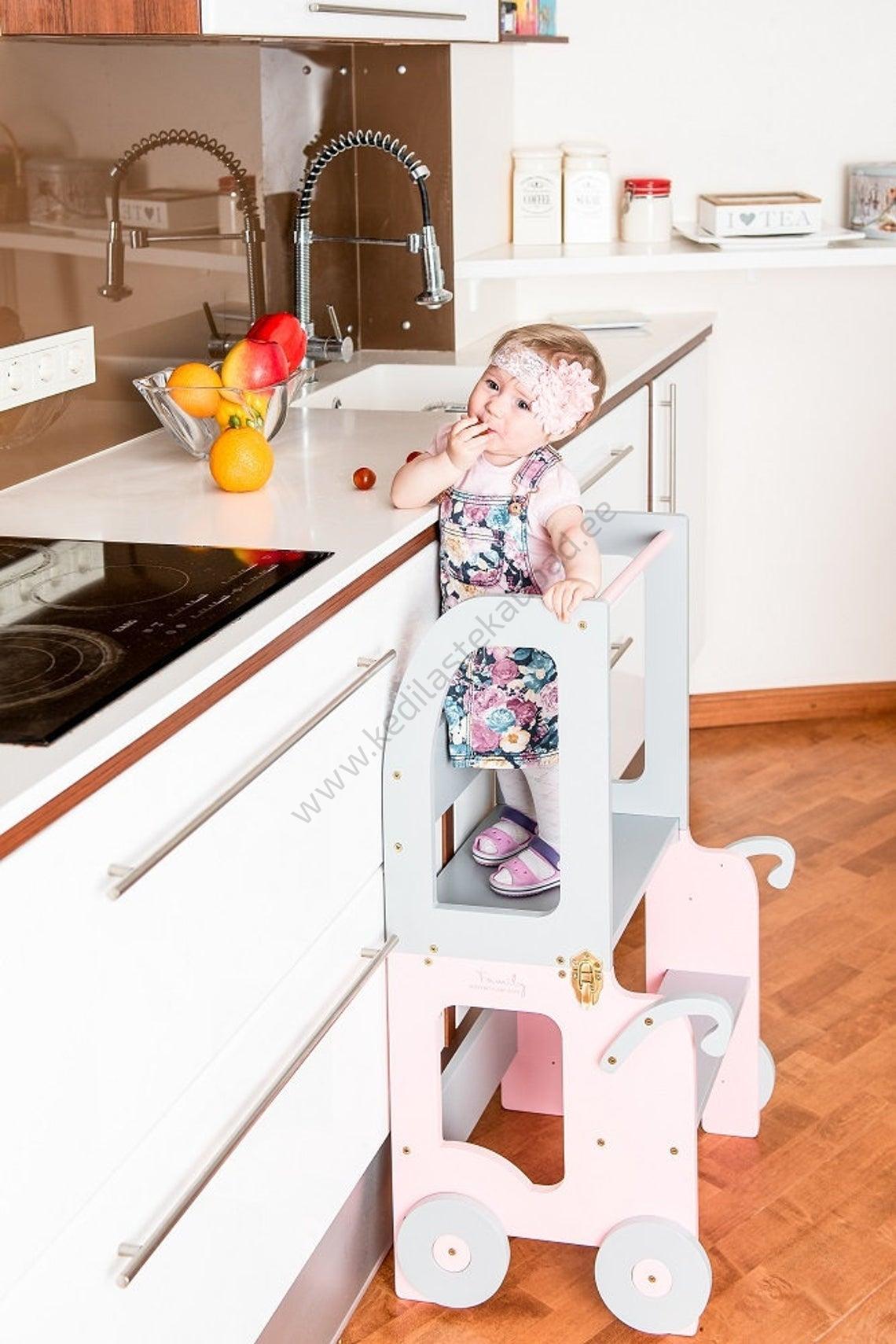 """Laste köögitorn-laud ja tool """"Käru"""" (värvivalik)"""